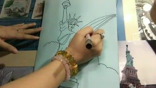 How to draw Statue of Liberty @ Angels Sky Happy Online Course: Art Lesson 10