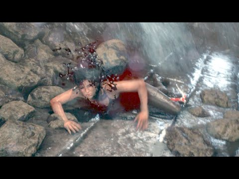 Rise of the Tomb Raider Crushed by Falling Rocks Death Scene