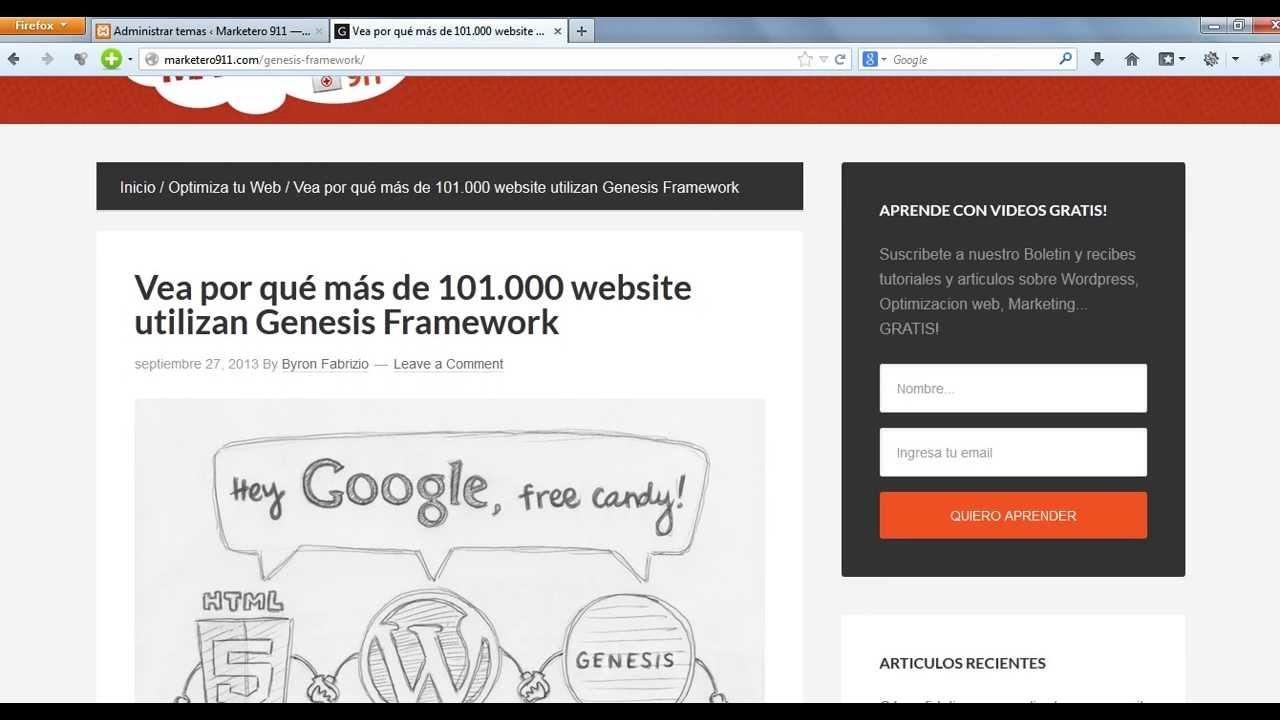 El Tema para Wordpress que inicio la revolucion Genesis - YouTube
