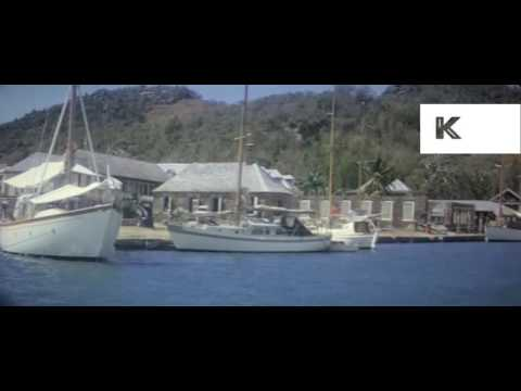 1960s Martinique, City, Cars, People, 16mm Colour Home Movies