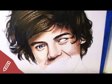 drawing-harry-styles-/-one-direction---realistic-portrait-with-colored-pencils-|-time-lapse