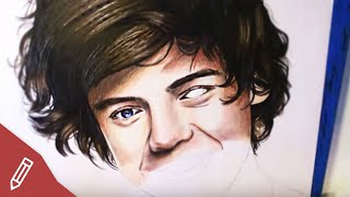 DRAWING Harry Styles / One Direction - REALISTIC PORTRAIT With COLORED PENCILS | Time Lapse