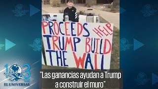 Niño vende chocolate caliente para ayudar a la construcción del muro fronterizo