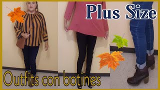 Outfits con botines|Outfits Plus size|Outfits para otoño