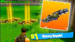 DOUBLE *LEGENDARY MINI GUN* VICTORY ROYALE! The MOST OVERPOWERED Gun in Fortnite Battle Royale!