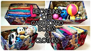 DIY Organiser For Clothes & Toys / Recycling Old Cardboard Boxes & Dresses