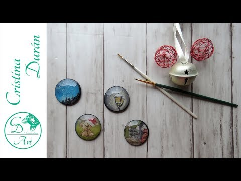 Christmas RESIN DIY - Turning Handmade Watercolor into MAGNETS