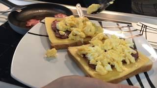 Как пожарить Яичницу . Яйца по Английски и жаренный Бекон . Что приготовить на завтрак