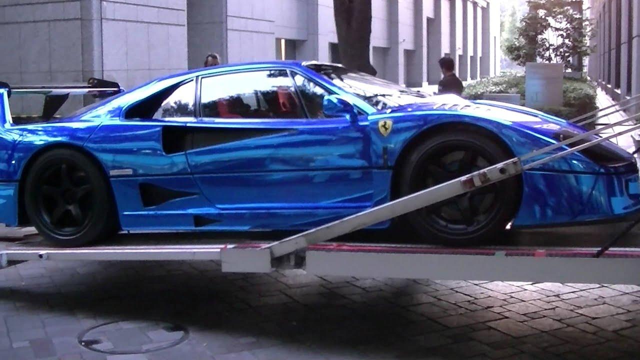 Wallpaper Hp 3d Supercar Ferrari F40 Lm Blue Chrome Wrapping Special Body