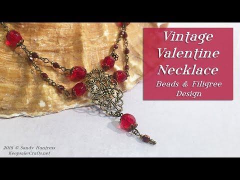 Vintage Valentine Necklace With Filigree & Crystals-DIY Jewelry Tutorial