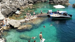 Paleokastritsa, Corfu - 2019: La Grotta diving, boating, and beaches