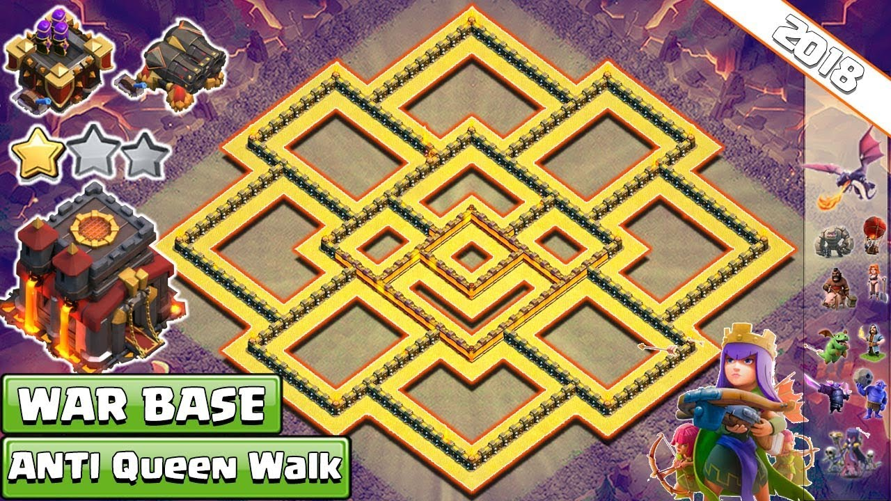 New Th10 War Base 2018 Anti Queenwalk Anti Valkyrie Anti Bowler