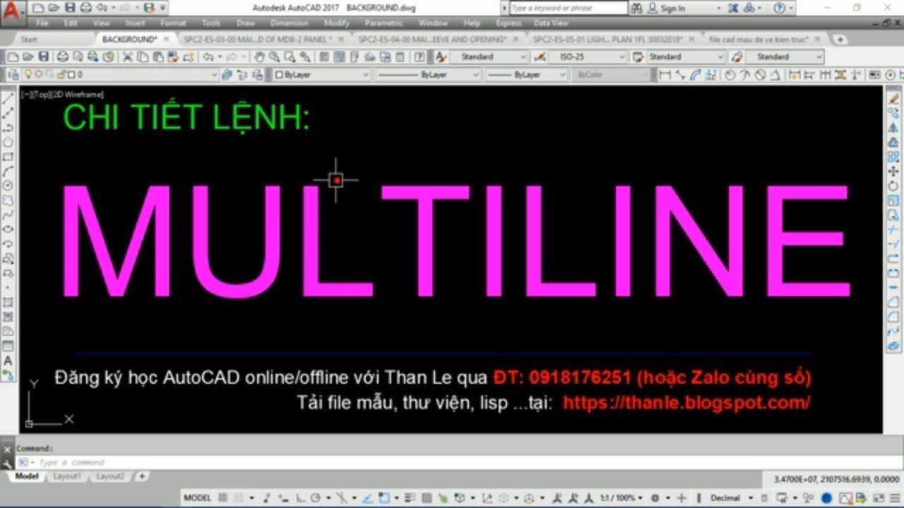 LỆNH MULTILINE DÙNG ĐỂ VẼ NHIỀU LINE SONG SONG(VẼ TƯỜNG, ĐƯỜNG ỐNG, VẼ ĐƯỜNG XÁ …)THẬT TUYỆT VỜI!
