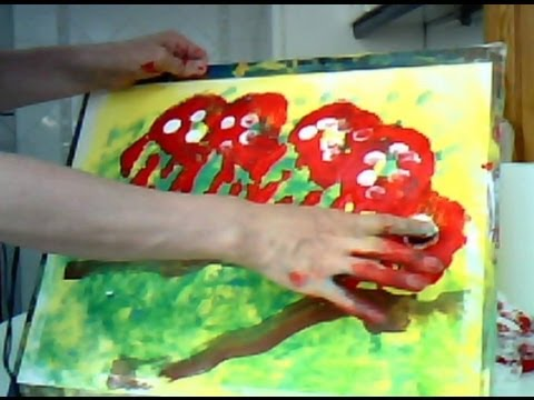 Pintar una oruga con pintura de dedos infantil painting - Ninos pintando con las manos ...