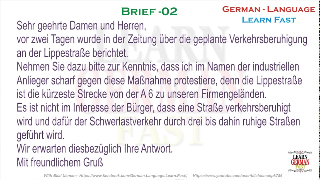 German Brief 02 A1 A2 B1 B2 C1 C2 Youtube