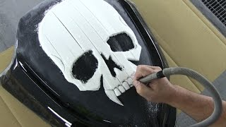 How to make a motor cycle fairing. 3D Skull & Custom Paint カスタムペイント・バイク