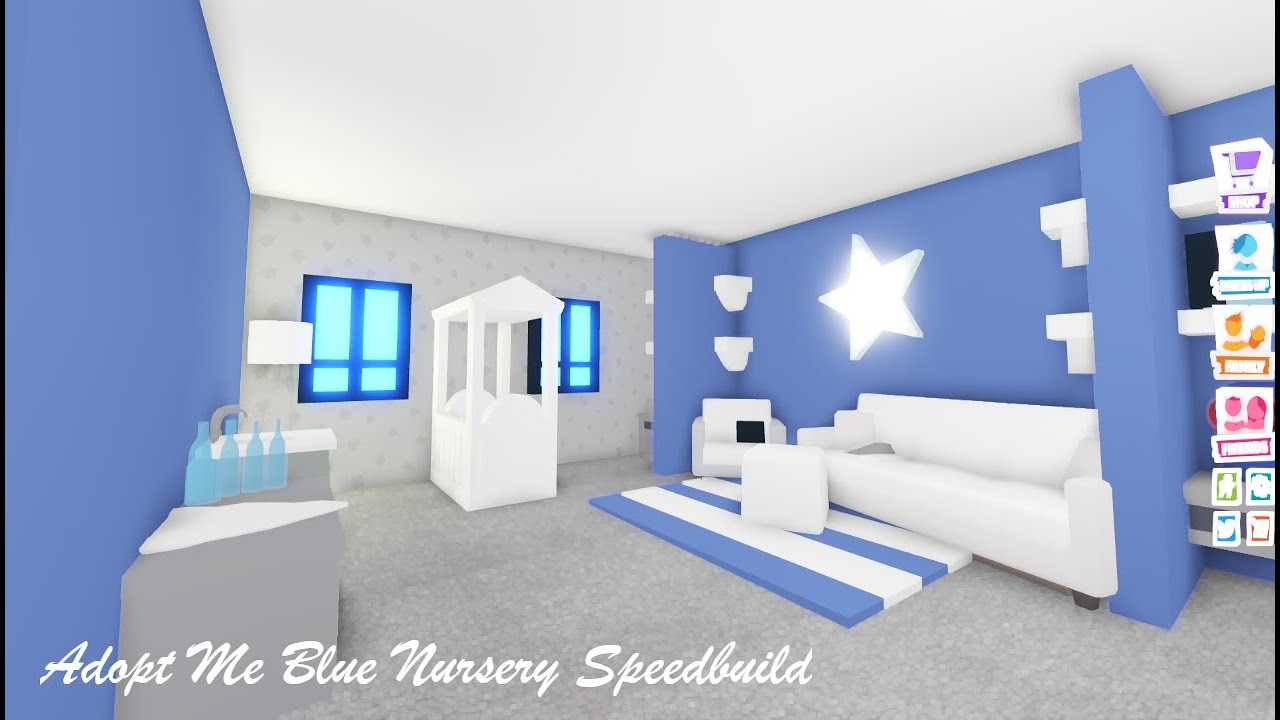Blue Baby Room Speedbuild ~ Adopt Me Build Hacks - YouTube