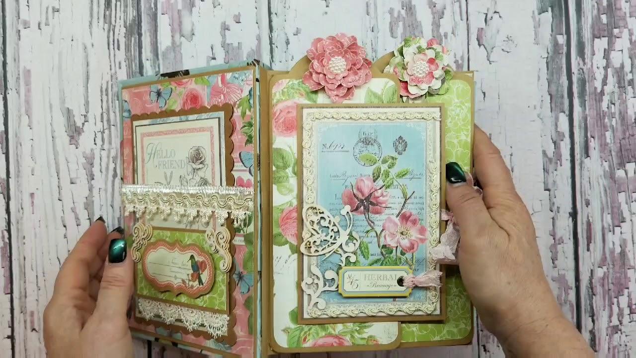 G45 Botanical Tea Mini Album For Scrapbooking With M E Youtube