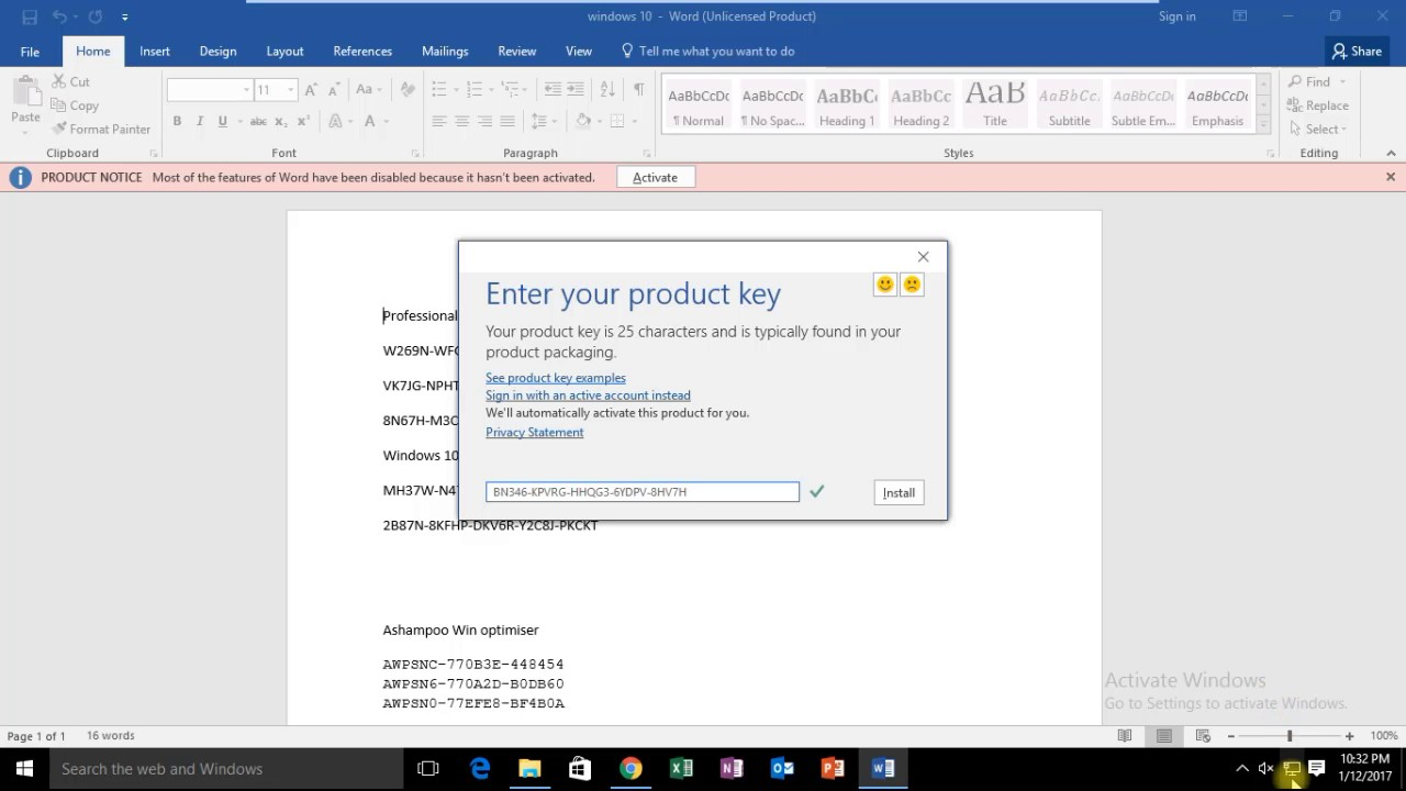 microsoft office 2016 25 character product key