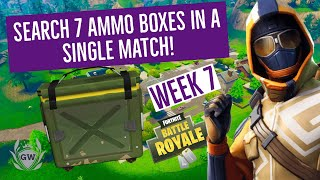 SEARCH 7 AMMO BOXES IN A SINGLE MATCH! FORTNITE WEEK 7 CHALLENGES! SEASON 6! Fortnite Battle Royale!