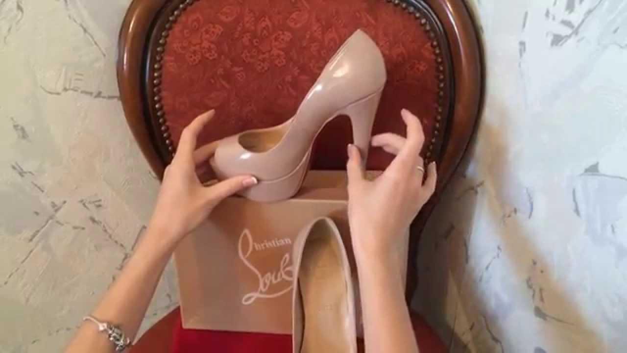 new arrivals b1b21 40002 Видео обзор туфель Christian Louboutin Lady Peep Nude 150 mm
