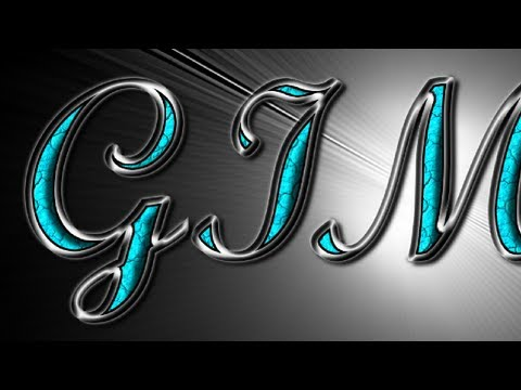 GIMP Text Effects - Silver with Turquoise Gemstones
