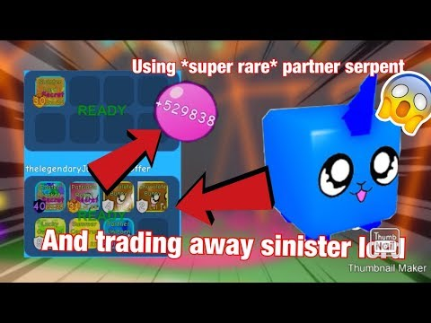 Roblox Bgs Using *super Rare* Partner Unicorn And Trading Away Sinister Lord+Giveaway (bubbleGumSim)