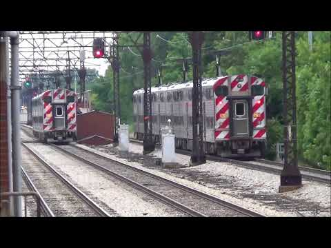 Metra Electric and South Shore trains in Downtown Chicago