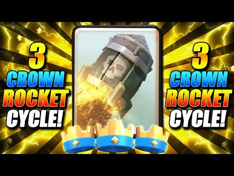 3 CROWN VICTORY EVERY GAME!! BEST 3 CROWN ROCKET CYCLE DECK!! - Clash Royale