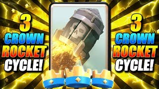 3 CROWN EVERY BATTLE!! BEST 3 CROWN ROCKET CYCLE DECK!! - Clash Royale