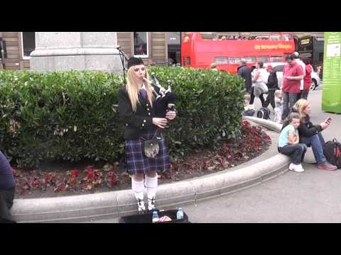 Pretty Blonde Girl playing Bagpipes in George Square, Glasgow 2014