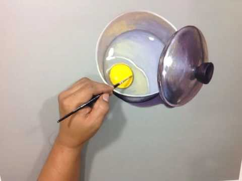 "How to paint hyperrealism still life ""Egg in a pan"""