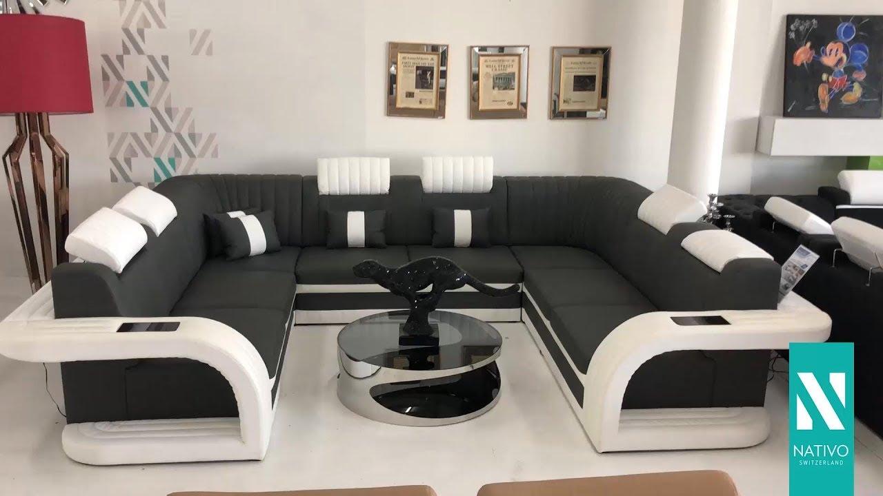 NATIVO Möbel Österreich   Designer Sofa ROYAL CORNER U FORM Mit LED  Beleuchtung U0026 USB Anschluss