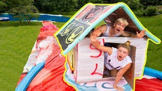 WORLDS BIGGEST BOX FORT WATERSLIDE CHALLENGE!!