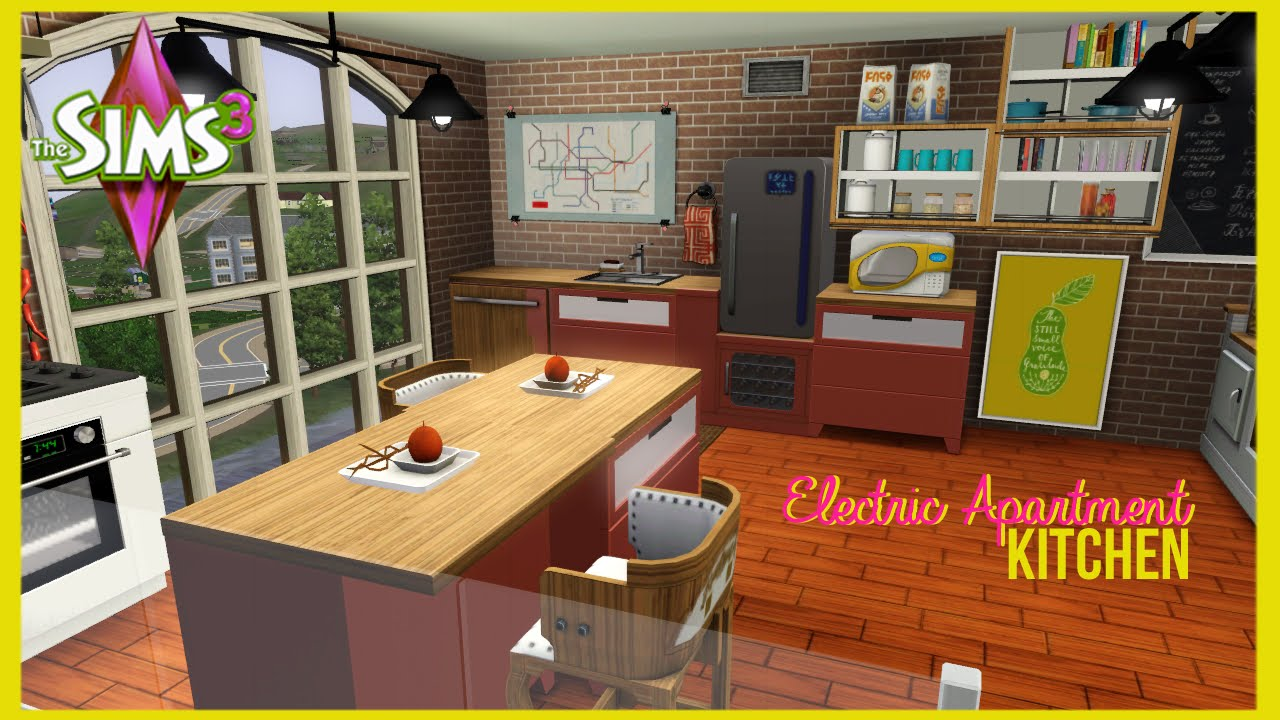The sims 3 electric apartment kitchen youtube for Sims 3 kitchen designs