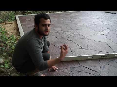 автомобильная площадка из красного камня (лемезита) - материал от ЭКОКАМНИ