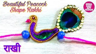 DIY Rakhi making at home | How to make rakhi at home | fancy colorfull peacock shape rakhi Best DIY