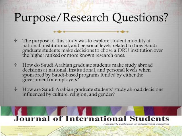 Collectivists' decision-making: Saudi Arabian graduate students' study abroad choices