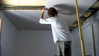 how to put a plasterboard ceiling up on your own at height
