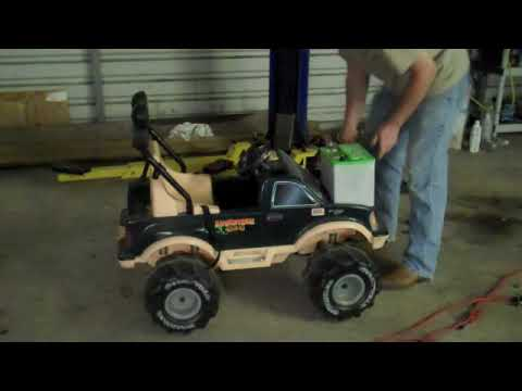 Car Battery In A Power Wheels Monster Truck Youtube