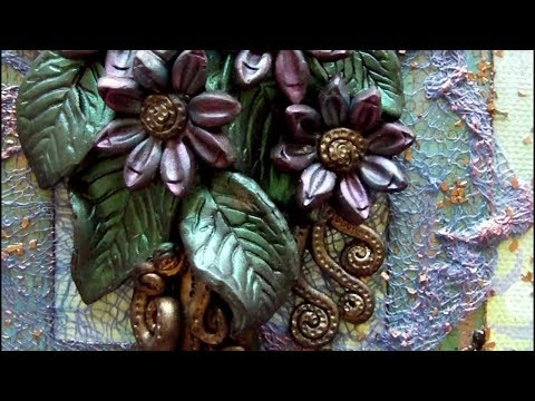 Mixed Media 3D Art Canvas - Polymer Clay Flowers