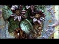 Mixed Media 3D Art Canvas - Polymer Clay Flowers