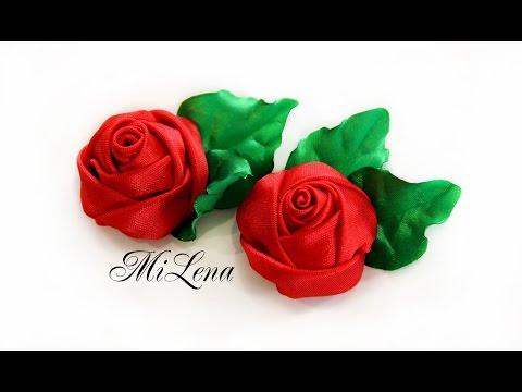 Роза из ленты своими руками / Красивая роза за 10 минут / DIY Ribbon rose / Handmade rose tutorial