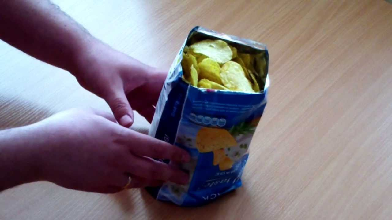 04083a8160 Making bowl from bag of chips - YouTube