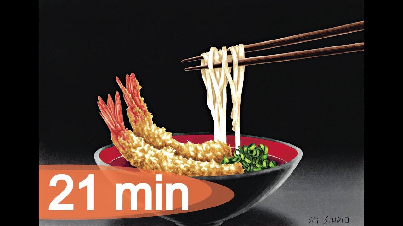 Let's draw udon with prawn tempura / えび天うどんを描きましょう(Long ver.)