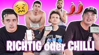 RICHTIG oder CHILLI 🌶😫 (extra scharf!!) | mit CrispyRob, Smiley, Phillip & Filipe