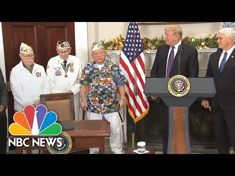 Watch WWII Veteran Break Into Song While President Trump Honors Pearl Harbor Anniversary | NBC News