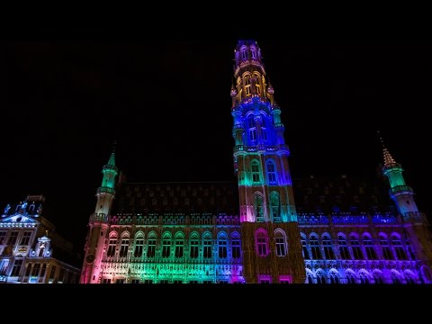 Grand Place 'Magical History City' Sound and Light Show 2014, Brussels, Belgium