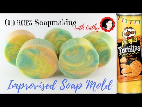 Cold process soap making using improvised soap mold tutorial how to use pringles can 093 |