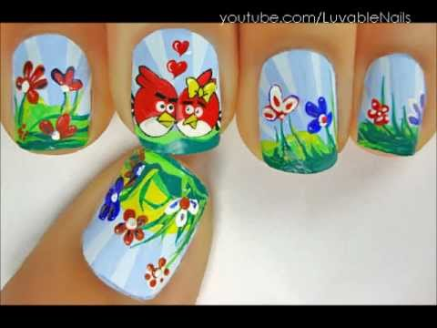 Angry Birds Hogs And Kisses Nail Art By Luvablenails